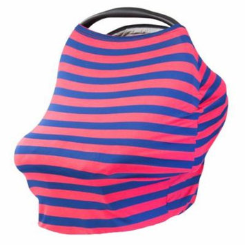 JLIKA Baby Car Seat Canopy Cover and Stretchy Nursing Cover Coral Navy Stripe