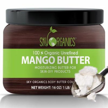 Sky Organics Unrefined, Organic Mango Butter for Dry Skin and Hair Care, 16 Oz.