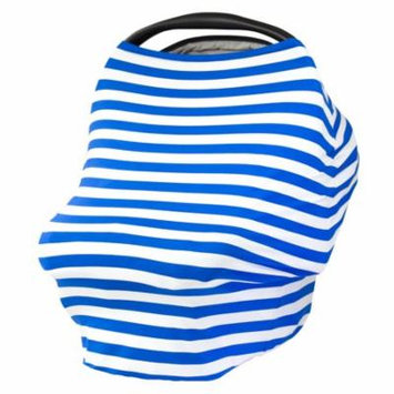 JLIKA Baby Car Seat Canopy Cover and Stretchy Nursing Cover Royal White Stripe