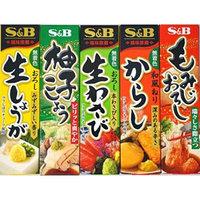 Assortment of Japanese Seasoning Wasabi(grated raw wasabi),Karashi,Citron Pepper,Momizi Oroshi(grated daikon and pepper),Grated Ginger