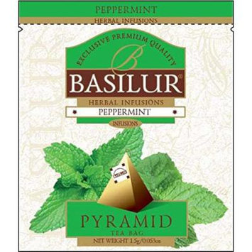 Basilur , 100% Pure Peppermint Tea , Herbal Infusion , Pyramid Tea Bags , Biodegradable Luxury Tea bags , For Hotels, Restaurants, Cafes and Tea lovers , Ultra-Premium Tea Sachets in Box (Pack of 50)