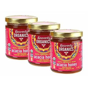 Heavenly Organics 100% ORGANIC RAW Acacia Honey, 12 oz, Pack of 3