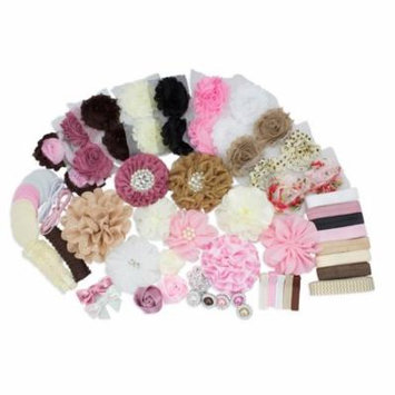 JLIKA Fashion Headband Kit - Baby Shower Games Headband Station Party Supplies for DIY Hair Bow Maker - Make 32 Headbands and 5 Clips -Vintage Collection