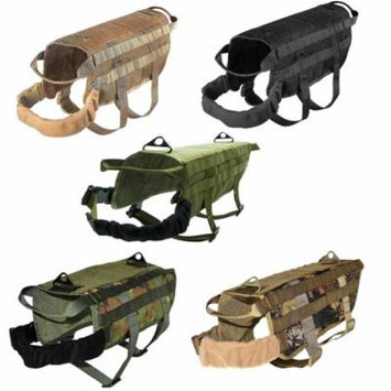 TACTICAL Dog Vest Harness K9 Molle MILITARY Army PATCH Panel Green sz Small