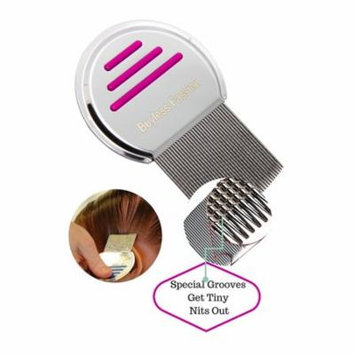 Buyless Fashion Stainless Steel Professional Lice Comb Will Clear Your Hair Of Pests Efficiently, Comb Comes With Cotton Draw-String Bag-Pink