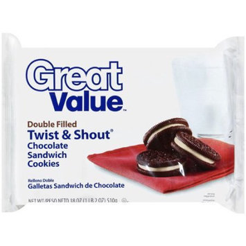 Great Value: Double Filled Twist & Shout Chocolate Sandwich Cookies, 18 Oz
