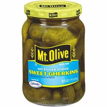 Mt. Olive Sweet Gherkins No Sugar Added Pickles, 16 Fl Oz Jars (Pack of 3, Total of 48 Oz)