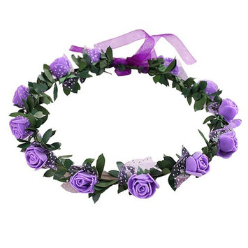 Gilroy Bohemian Rose Flower Crown Headband Bridal Wedding Hair Garland Wreath Headdress