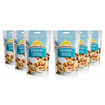 Sunshine Nut Company 'Perfectly Plain' Cashews, Peanut Free, Gluten Free, GMO Free, 7 oz, Pack of 6