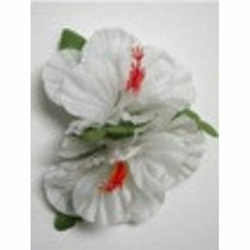 Double Hibiscus hair clip #35 white