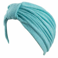 Soft Terry Cloth Turban Head Cover with Reversible Knot or Button Front - Turquoise