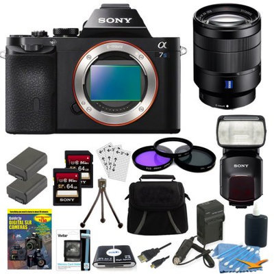Sony ILCE-7S/B a7S Camera, 24-70mm Lens, 2 64GB Cards, 2 Batteries, Flash Bundle