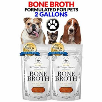 Premium Bone Broth For Pets - Organic Grassfed - Bone Broth For Dogs & Cats (Beef/Chicken /Turkey /No Veggies/ No Salt) - Non-GMO/Gluten-Free/Dairy-Free/Soy Free. 2 Gallons. Frozen 32oz bags, 8 count.