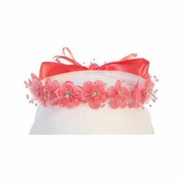 Angels Garment Girls Coral Flower Glitter Rhinestone Embellished Headband