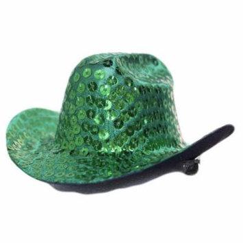 Mini Sequin Cowboy Hat Hair Clip (Green)
