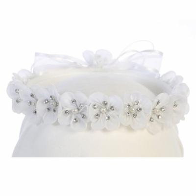Angels Garment Girls White Flower Sparkle Center Embellished Headband