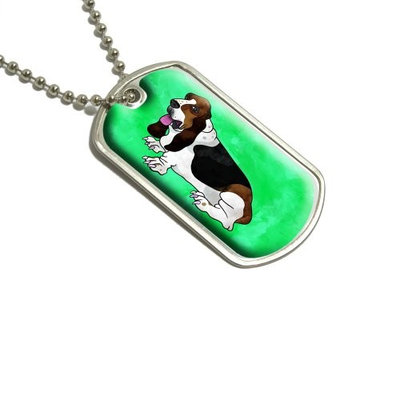 Basset Hound Watercolor Teal Military Dog Tag Luggage Keychain