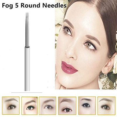 50Pcs Round 5 Needles For Fog Manual Pen Permanent Makeup Round 5 Microblading Embroidery Eyebrow Needle