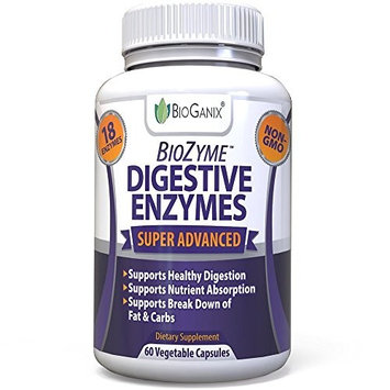 BioGanix Digestive Enzymes Supplement - Ultra Advanced Dietary Enzymes For Digestion Enhancement, Nutrient Absorption & Fat Breakdown Support - Natural Papaya Enzyme Plus Lactase, Protease & Amylase