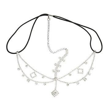 MagiDeal Fashion Crystal Rhinestone Dangle Women Forehead Hair Head Chain Headpiece