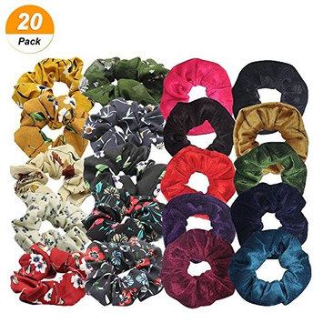 SelfTek 20Pack Hair Scrunchies Set 10Pcs Chiffon Hair Bobbles Scrunchy and 10Pcs Velvet Hair Ties Multi Color Elastic Hair Bands