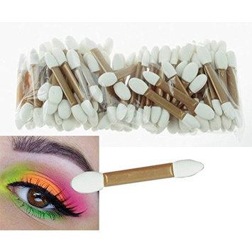 Phantomsky 50Pcs Disposable Cosmetic Makeup Applicator Eyeshadow Dual Sided Brush Double-end Latex Sponge Brushes Set