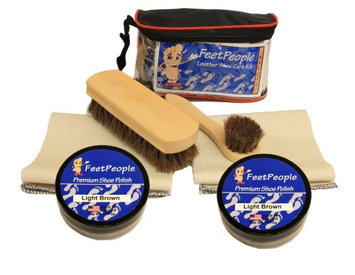 FeetPeople Deluxe Leather Care Kit with Travel Bag, Light Brown