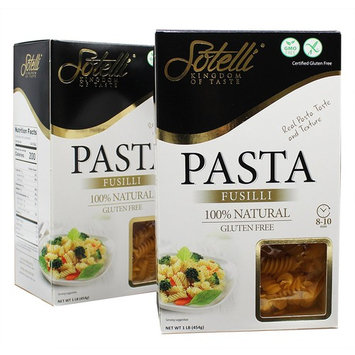 Gluten-Free Fusilli Corn Pasta, Kosher for Passover, GMO Free, Certified Gluten Free, 100% Natural, By Sotelli (Pack of 2)