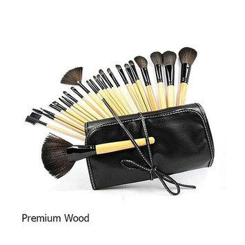 TagCo USA LS-EMI-24PC-NAT Professional Makeup Brush Set with Case - 10 Styles, Premium Wood & 24 Piece
