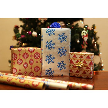 Christmas Holiday Gift Wrapping Paper Rolls Recycled Kraft Xmas Assorted Gift Wrap Pack of 3 Rolls Whimsical Santa, Blue Snowflakes in Silver, Gold and Red Ornaments Heavy and Premium Metallic Kraft