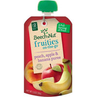 Beech-Nut Fruities on the Go Stage 2 Peach, Apple & Banana Puree Baby Food, 3.5 oz, (Pack of 12)