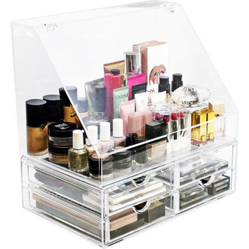 Ggi International Sorbus Acrylic Cosmetics Makeup Organizer Storage Case Holder Display with Slanted Front Open Lid, Style 2, Slanted Lid with 4 Drawers