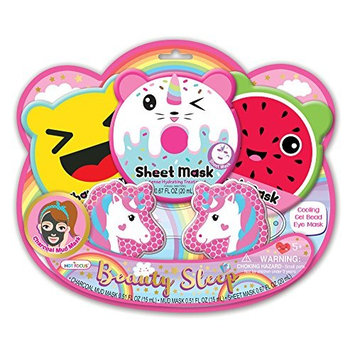 Hot Focus Unicorn Spa Kit for Girls 1 Cooling Beads Eye Kids Sleeping Mask for Sleep 1 Mud mask and 1 Charcoal Face Mask