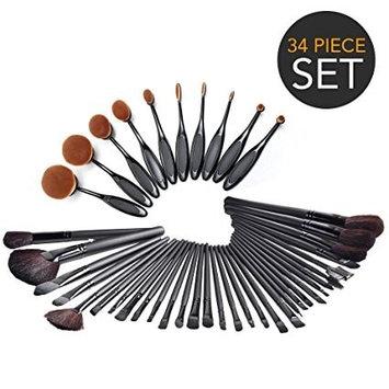 Medex 34-Piece Ultimate Hollywood Makeup Brush Set- Super SOFT Cosmetics Foundation Blending Blush
