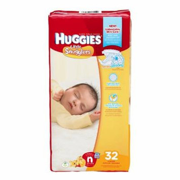 Huggies Little Snugglers Baby Diapers, Newborn (Up to 10 lbs) - Pack of 32