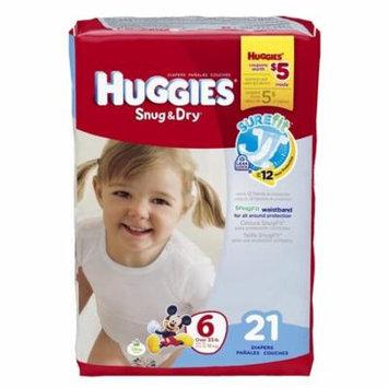 Baby Diaper Huggies Snug & Dry Tab Closure Size 6 Disposable Heavy Absorbency-Package of 21