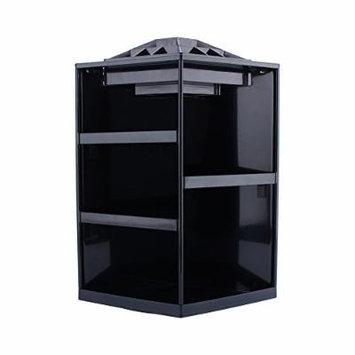 360 Degree Rotating Cosmetic Makeup Organizer,Tidy Organizer Cosmetic Display Brush Lipstick Storage Stand Box,Black