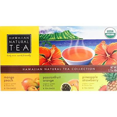 Organic Hawaiian Natural Tea (Tea Collection of Three Flavors, 24 Tea Bags)