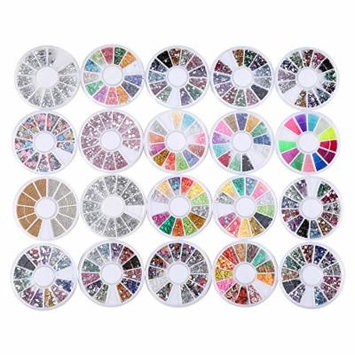 20 Pack Mixed Lot 3D Nail Art Decorations Rhinestone 13 Wheel Sets, Colored Rhinestones, Sliver Crystal Gemstones, 3D Glitter Rhinestones Charm, Gold And Silver 3D Metal Studs