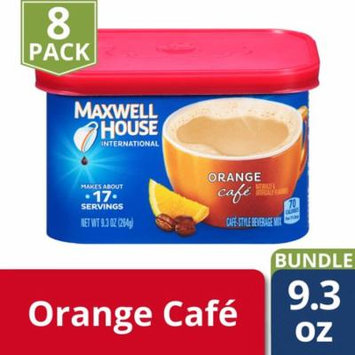 Maxwell House International Cafe Orange Instant Coffee Beverage Mix, 9.3 oz Canister (Pack of 8)