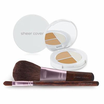 Sheer Cover Studio – Starter Face Kit – Perfect Shade Mineral Foundation – Conceal & Brighten Highlight Trio – with FREE Foundation Brush and Concealer Brush – Light Shade – 30 Day Supply/4 Pieces