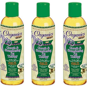 [ PACK OF 3 ] Africa's Best Organics Growth & Strengthening Oil Therapy Argan Oil Treatment 8oz : Beauty