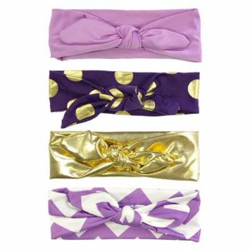 Wrapables® Girls Boho Knotted Headband Headwrap (Set of 4), Purple Passion