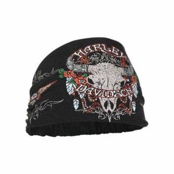 Harley-Davidson Women's Studded Steer Skull Headband Scrunchie, Black HE20430, Harley Davidson