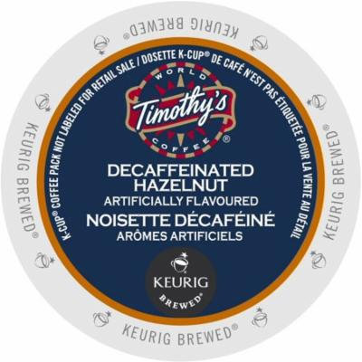 Timothy's Hazelnut Decaf Coffee, K-Cup Portion Pack for Keurig Brewers (96 Count)