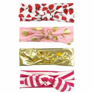 Wrapables® Girls Boho Knotted Headband Headwrap (Set of 4), Pretty in Pink