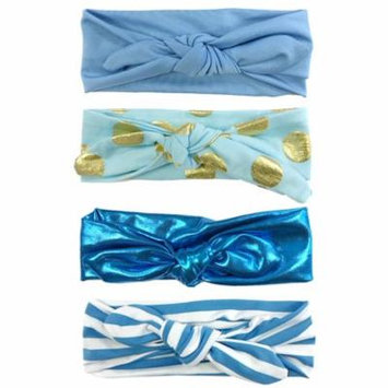 Wrapables® Girls Boho Knotted Headband Headwrap (Set of 4), True Blue