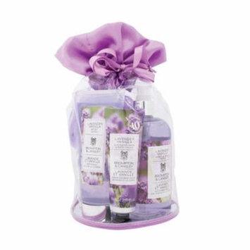Brompton & Langley Satin Trimmed Bath & Body Tote Set, Lavender Vanilla, 5 Ct