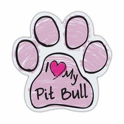 Pink I Love My Pit Bull Scribble Paw Magnet Dog Cat 5.5