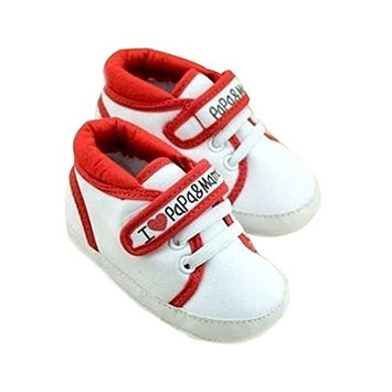 Infant Shoes - TOOGOO(R)Newborn Infant Baby I Love Papa Mama Soft Sole Crip Sport Shoes Sneakers Casual 6~9 Months 12cm red